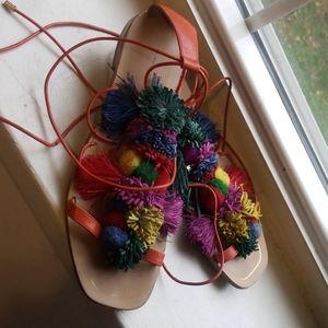 Zara Colorful Pom strappy sandal